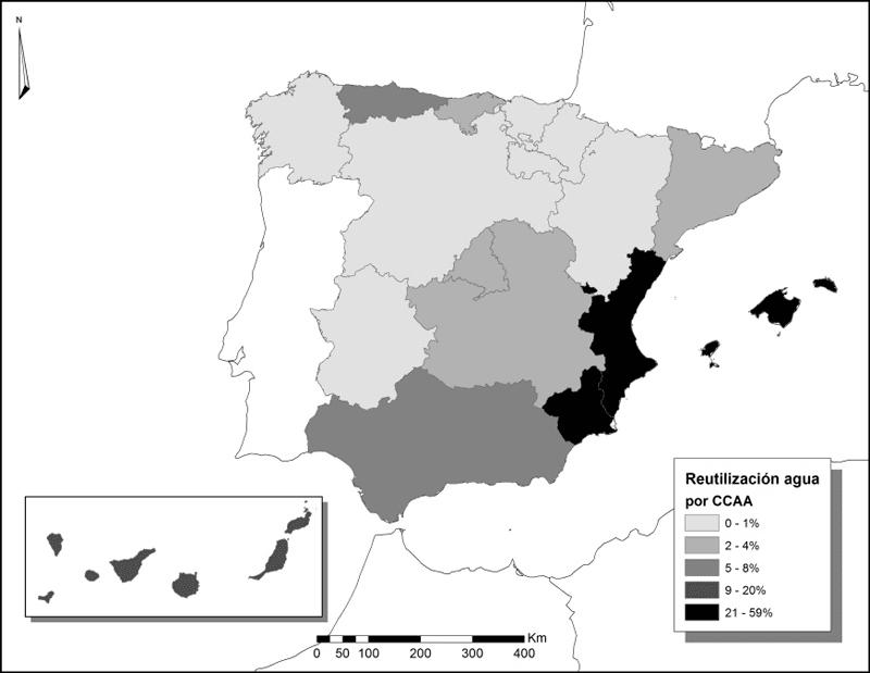 reutilizacion del agua por ccaa en espana